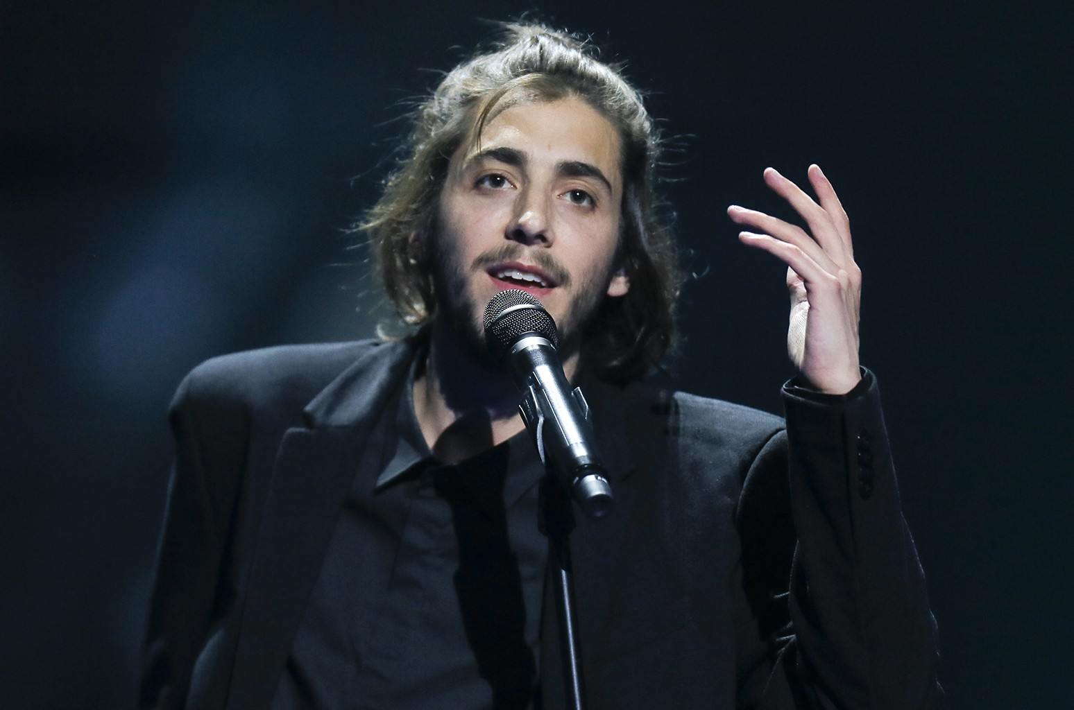 """Salvador Sobral from Portugal performs the song """"Amar pelos dois"""" during rehearsals for the Eurovision Song Contest, in Kiev, Ukraine on May 12, 2017."""