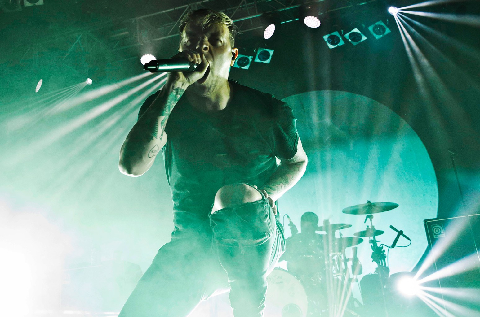 Samuel David Carter of the British band Architects performs live during a concert at the Huxleys Neue Welton Oct. 30, 2016 in Berlin, Germany.