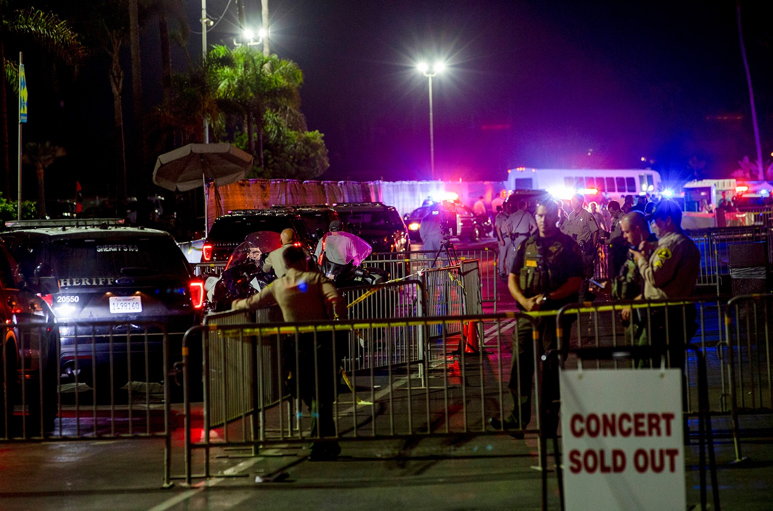 Law enforcement  secures the crime scene after shots were fired before an Ice Cube concert at Del Mar Race Track on Sept. 2, 2018 in Del Mar, Calif.