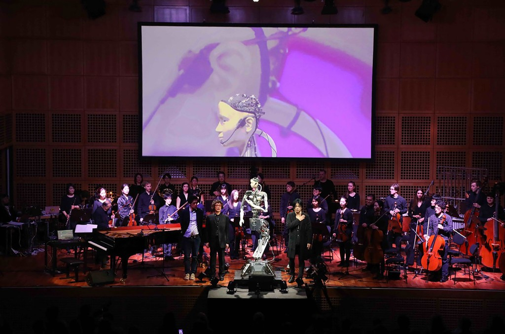 """""""Scary Beauty"""" android opera premieres March 13, 2019, at the Hi, Robot! Mensch Maschine Festival in Robert Schumann Hall, Düsseldorf, Germany."""