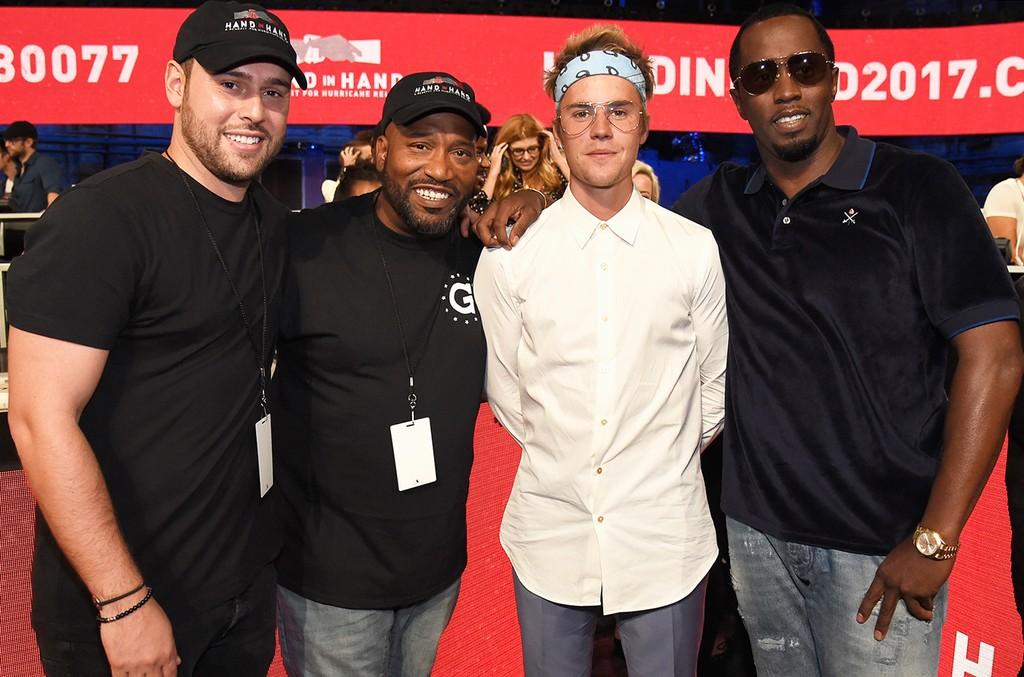 Scooter Braun, Bun B, Justin Bieber and Sean 'Diddy' Combs