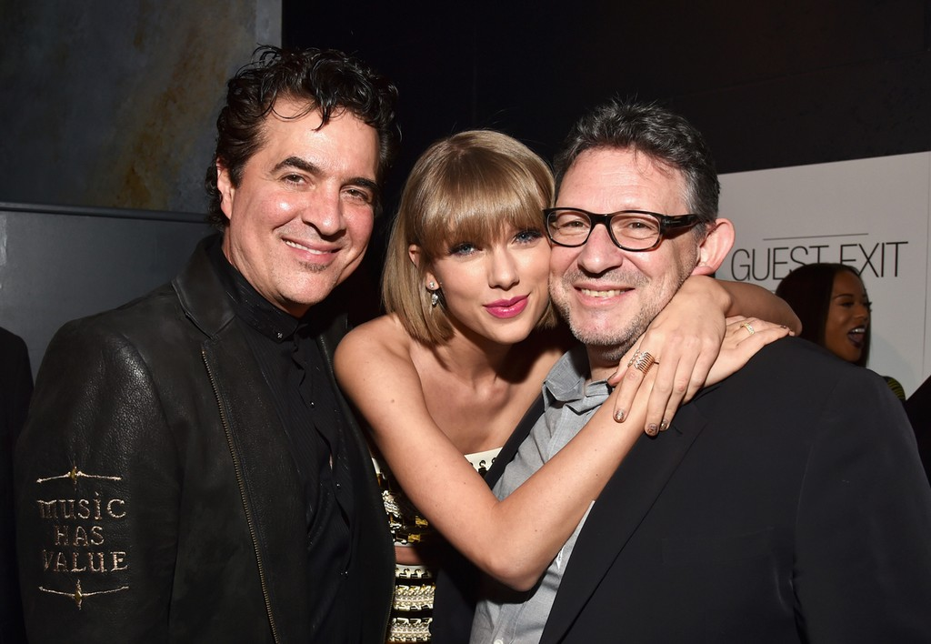 Scott Borchetta, Taylor Swift and Lucian Grainge at Grammy After Party