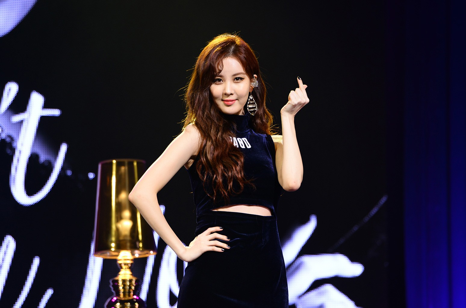 """Seohyun of South Korean girl group Girls' Generation performs during the press conference of her first solo album """"Don't Say No"""" on Jan. 16, 2017 in Seoul, South Korea."""