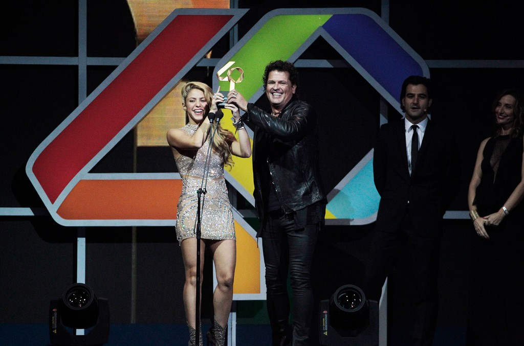 Shakira and Carlos Vives attend the Los 40 Music Awards 2016 at Palau Sant Jordi on Dec. 1, 2016 in Barcelona, Spain.