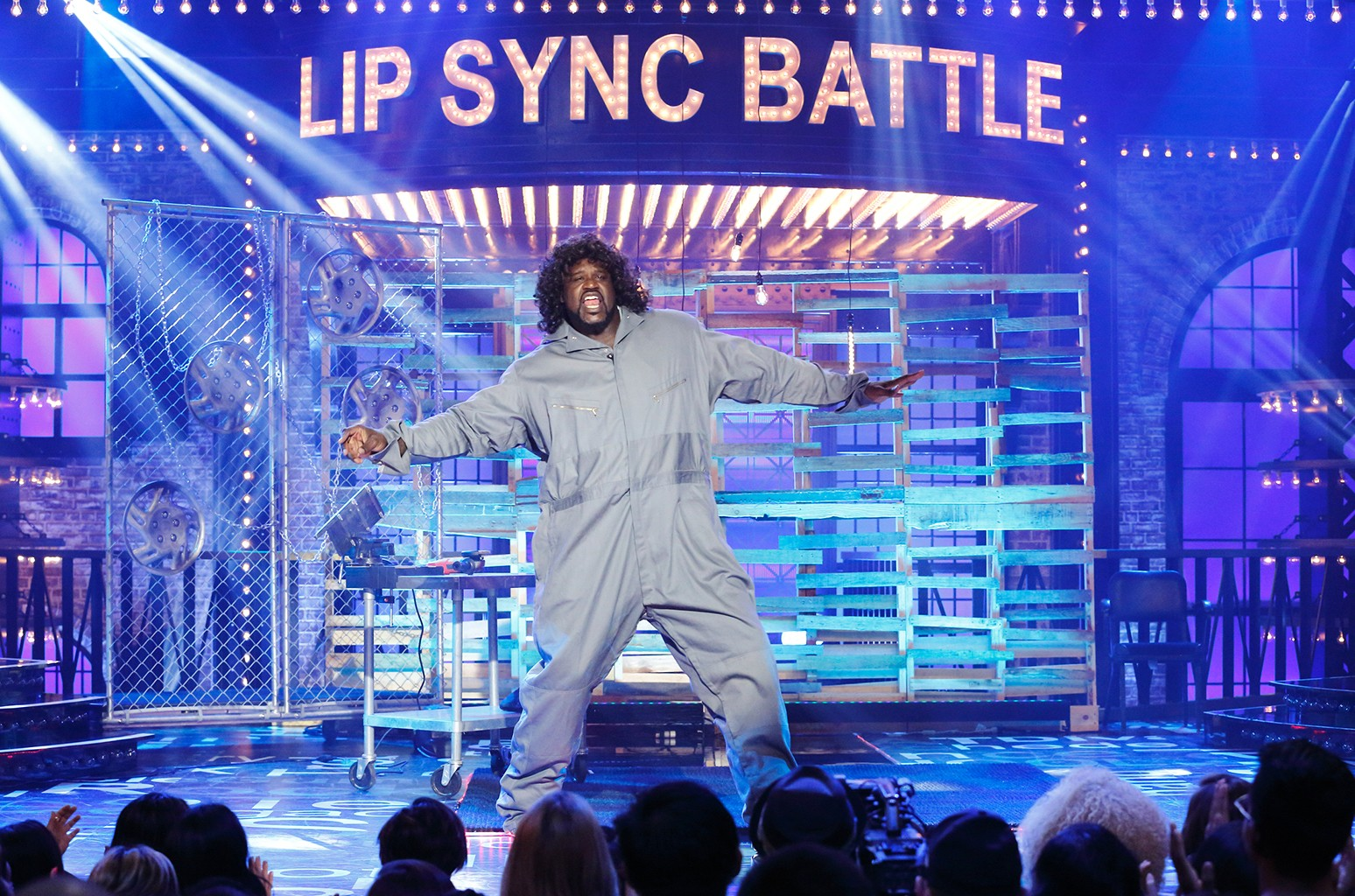 """Shaquille O'Neal performs """"Maniac"""" in Lip Sync Battle."""