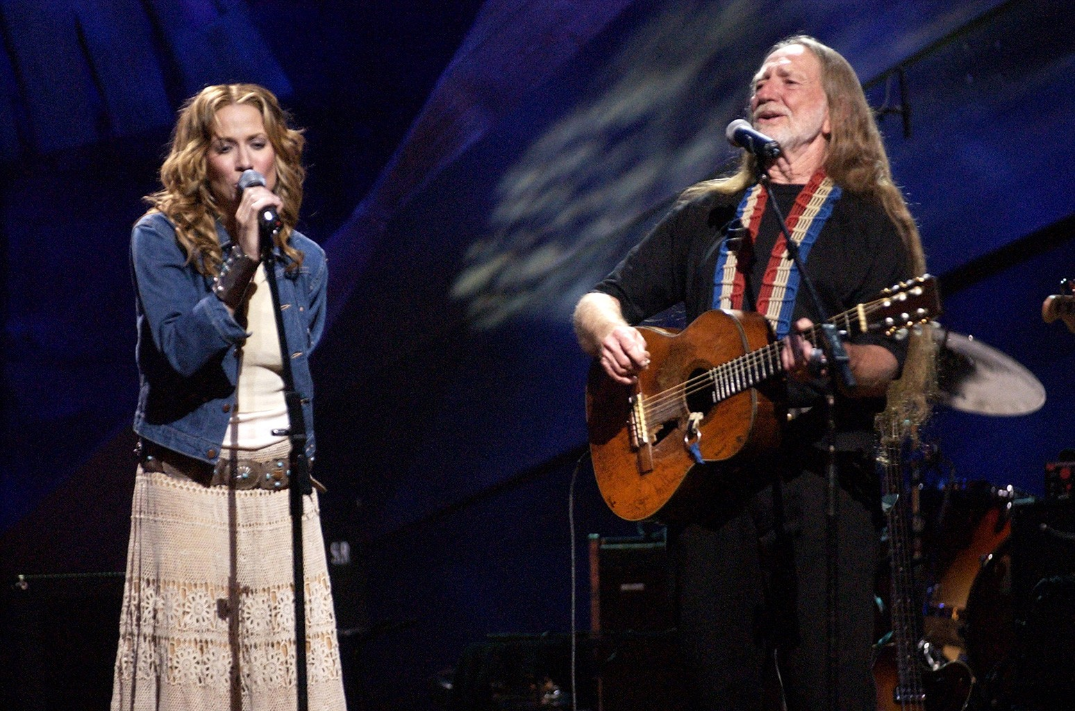 Sheryl Crow and Willie Nelson onstage at Beacon Theatre in New York City.