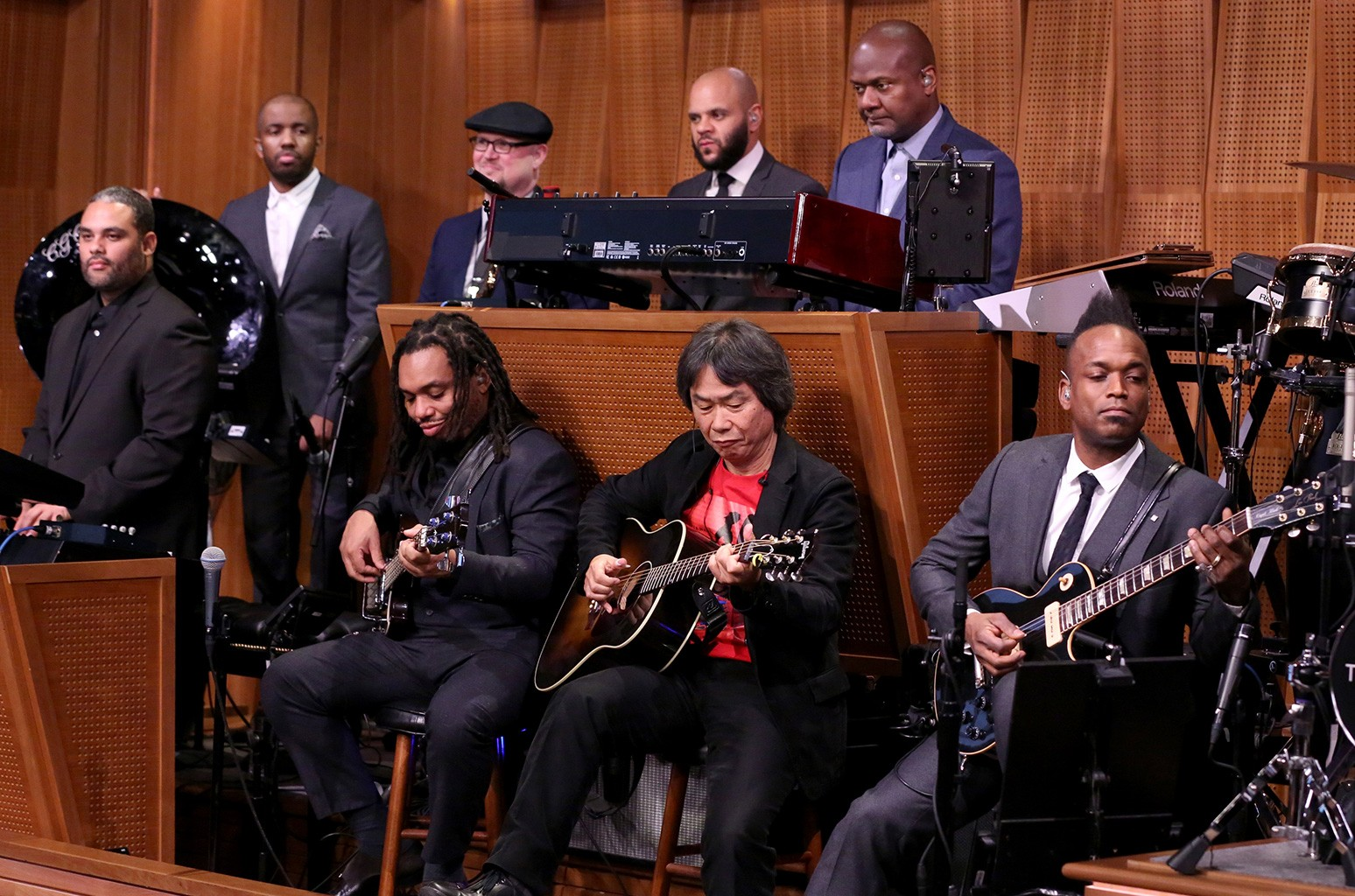 Video game designer Shigeru Miyamoto sits in with The Roots on The Tonight Show Starring Jimmy Fallon on Dec. 7, 2016.