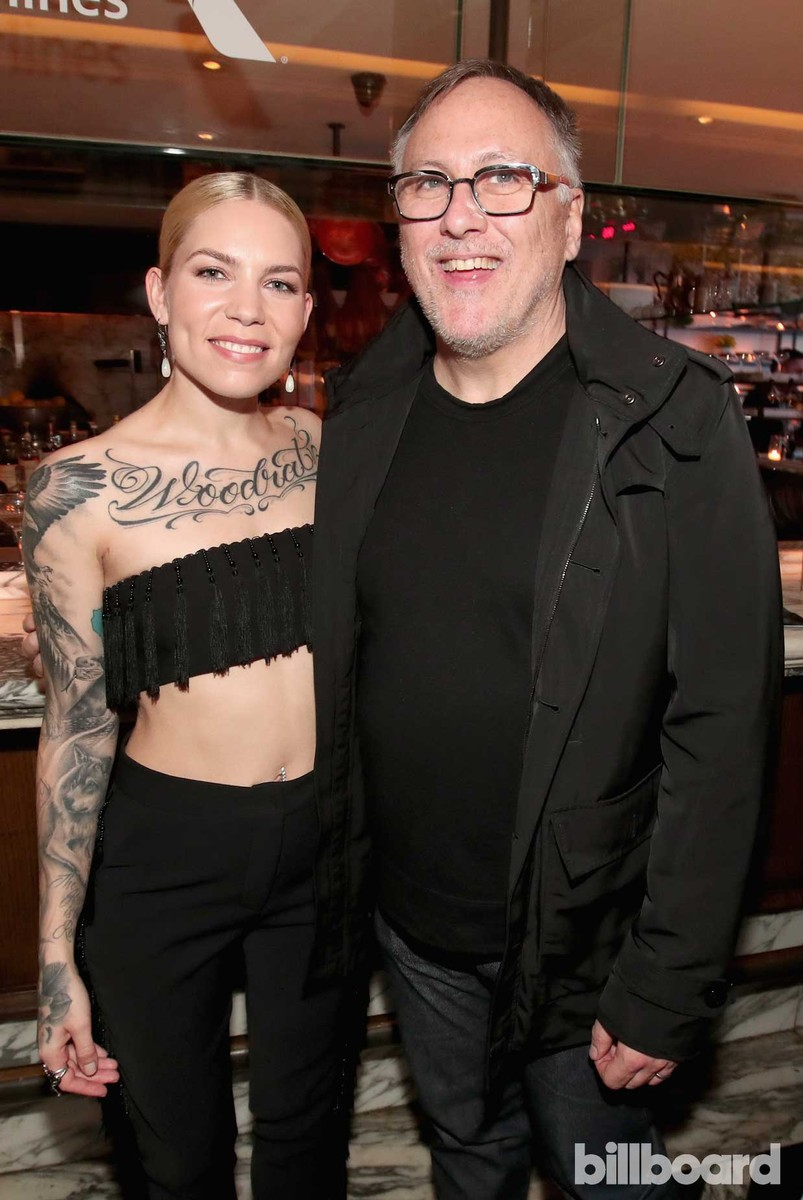 Skylar Grey and Dennis Dennehy of Interscope Records attend 2017 Billboard Power 100 - Inside at Cecconi's on Feb. 9, 2017 in West Hollywood, Calif.