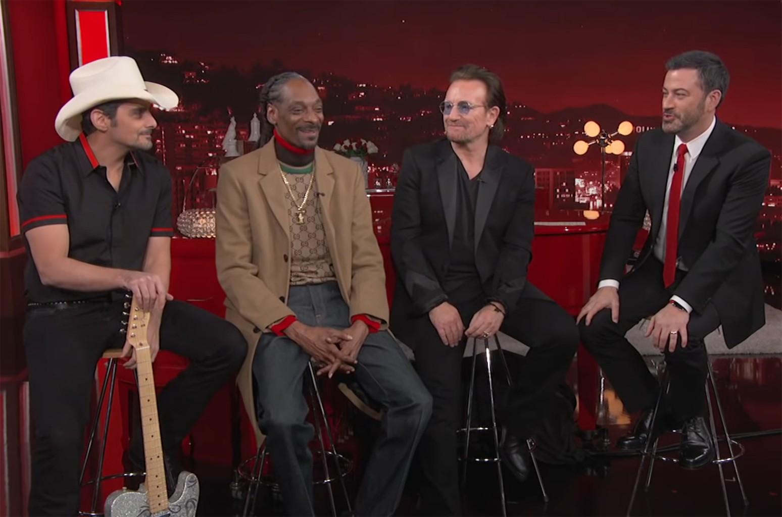 Brad Paisley, Snoop Dogg, Bono and Jimmy Kimmel