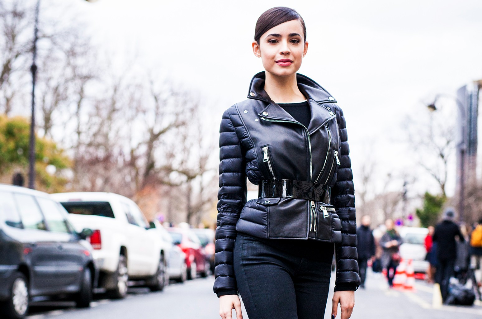 Sofia Carson is seen in the streets of Paris after the Moncler Gamme Rouge show during Paris Fashion Week Womenswear Fall/Winter 2017/2018 on March 7, 2017 in Paris.