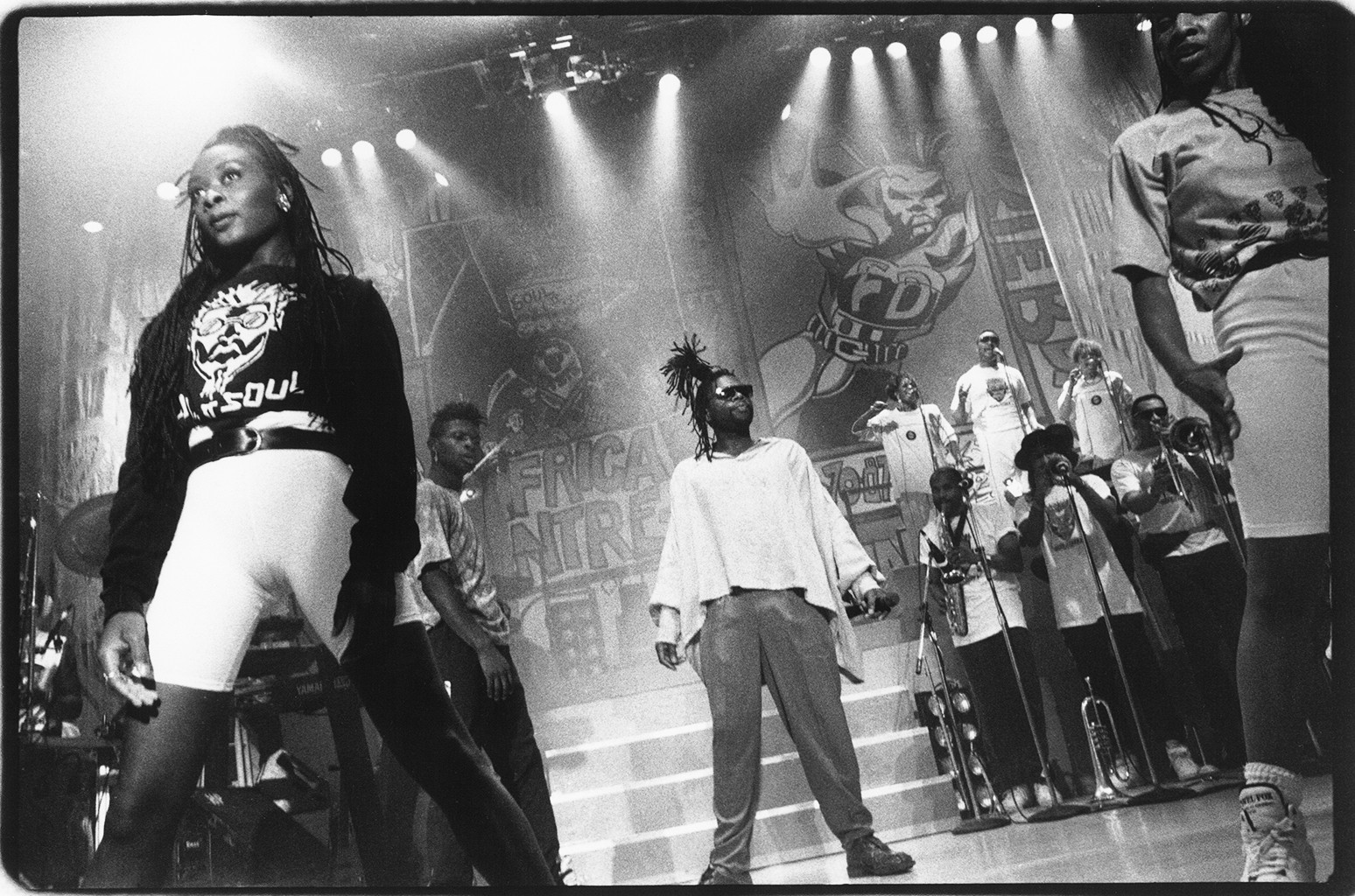 British group Soul II Soul (Jazzie B. in center)  perform live at the Palladium in 1990 in New York City.