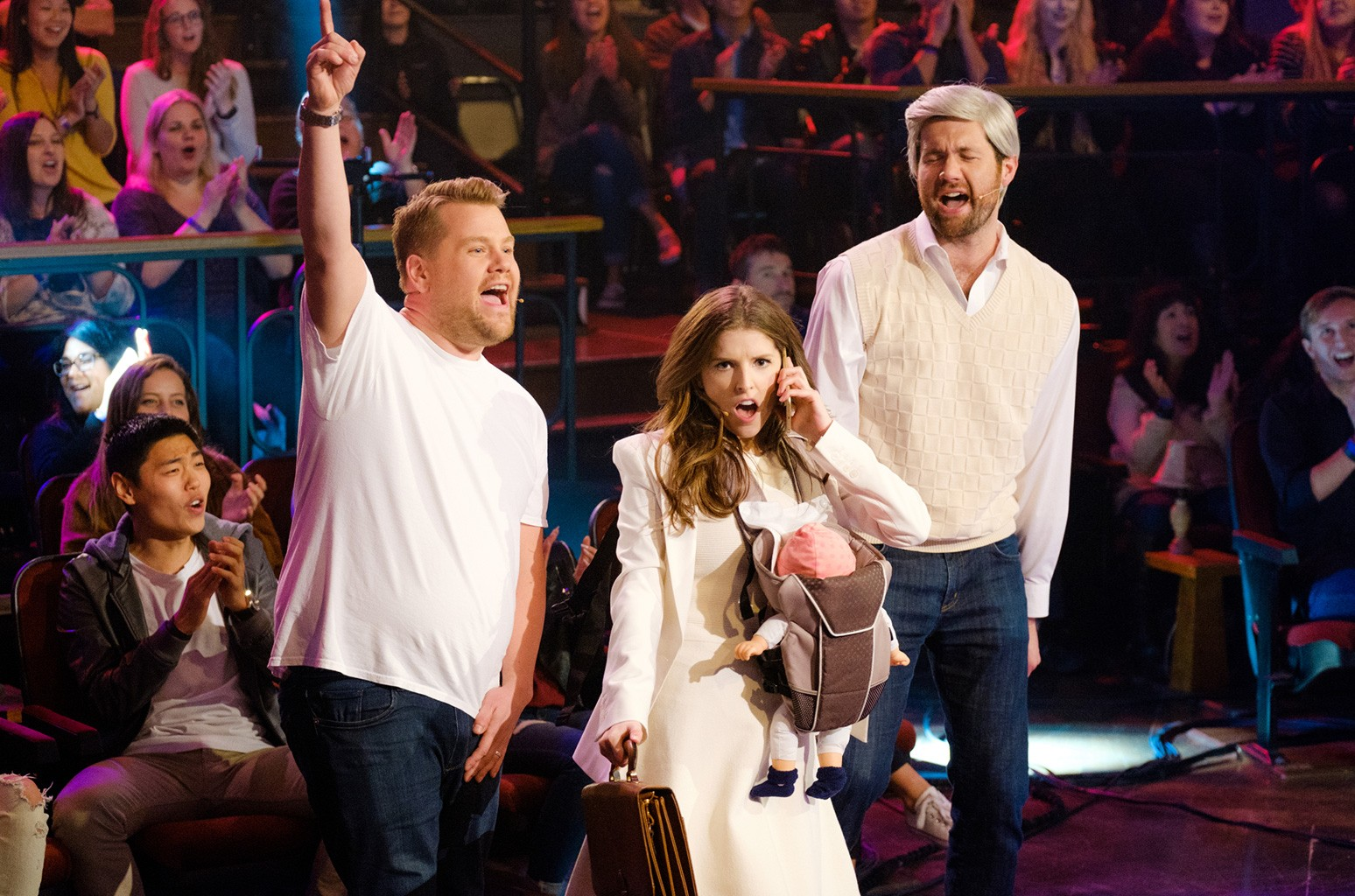 Anna Kendrick and Billy Eichner performs with James Corden during The Late Late Show with James Corden on Nov. 21, 2016.