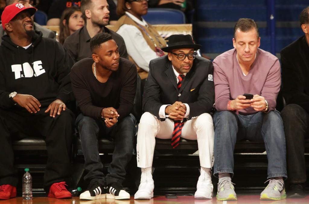 Kendrick Lamar and Spike Lee; courtside; NBA