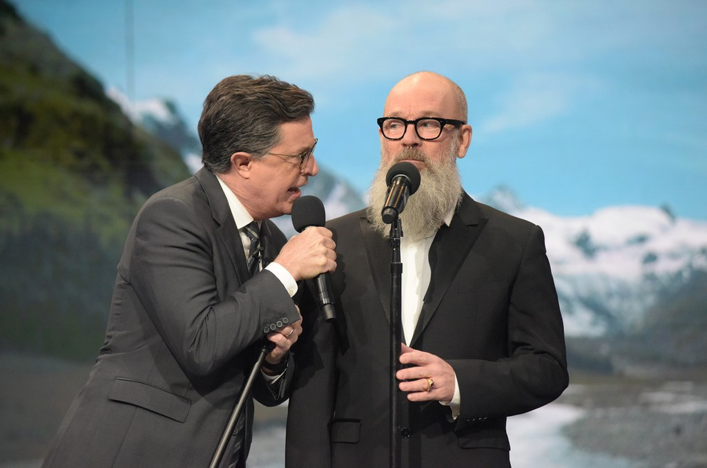 The Late Show with Stephen Colbert and guest Michael Stipe on Dec. 15, 2016.
