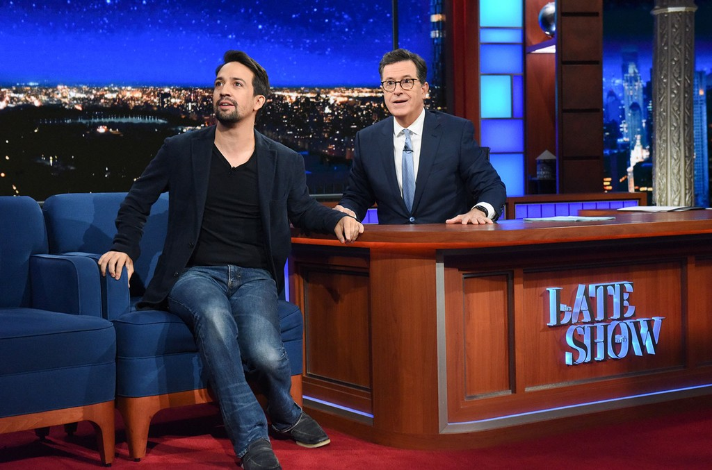 Lin-Manuel Miranda on The Late Show with Stephen Colbert on Oct. 5, 2017.