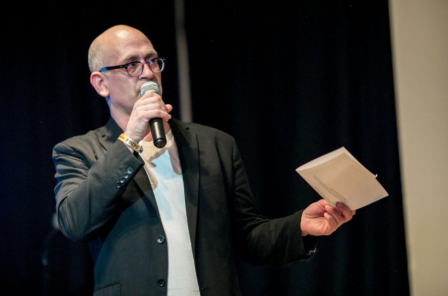 Polaris founder Steve Jordan speaks at the announcement of the Polaris Music Prize long list on June 19, 2014 in Calgary, Canada.