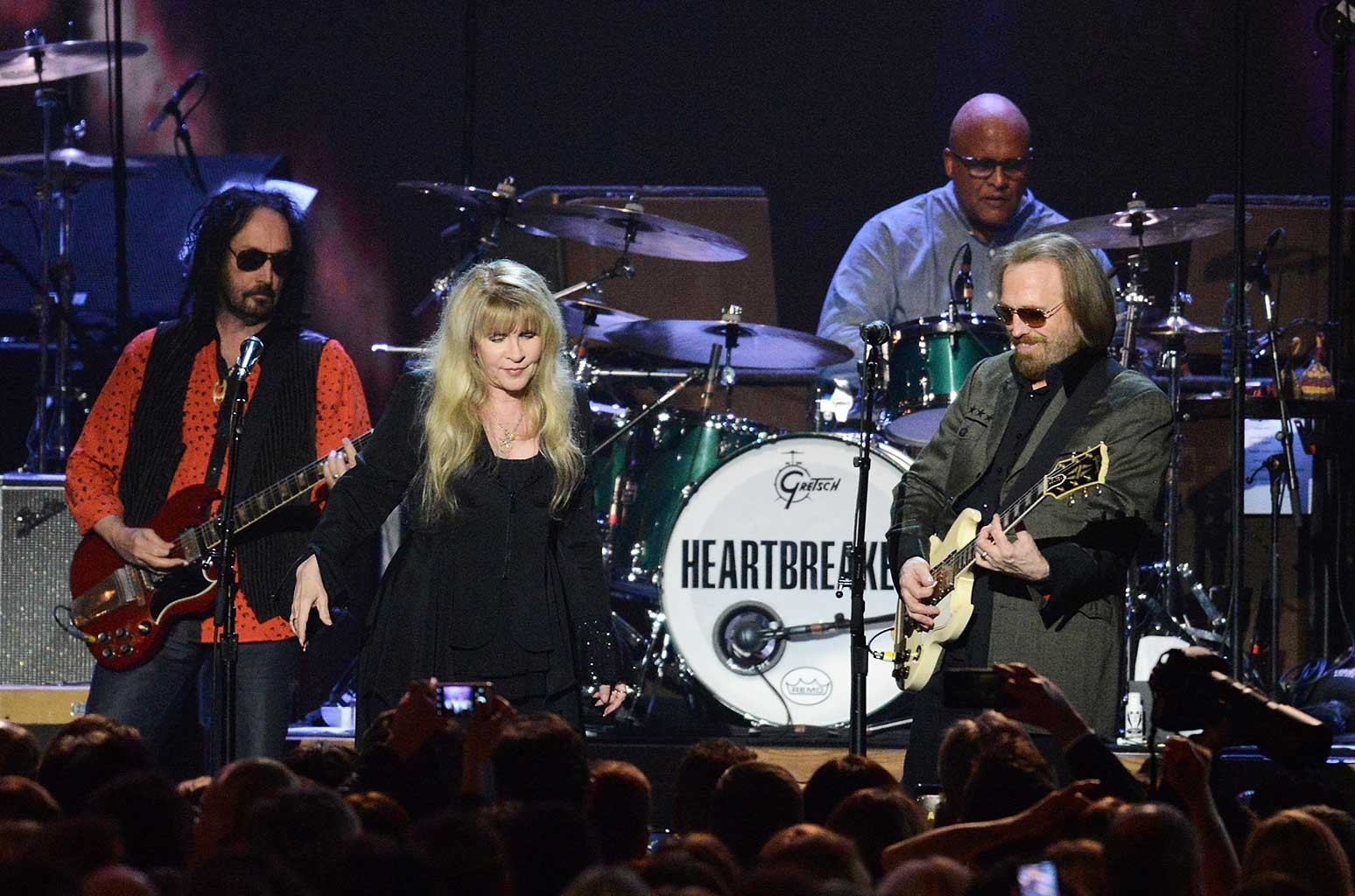 Stevie Nicks, Mike Campbell, Steve Ferrone and Tom Petty perform onstage during the MusiCares Person of the Year event on Feb. 10, 2017 in Los Angeles.