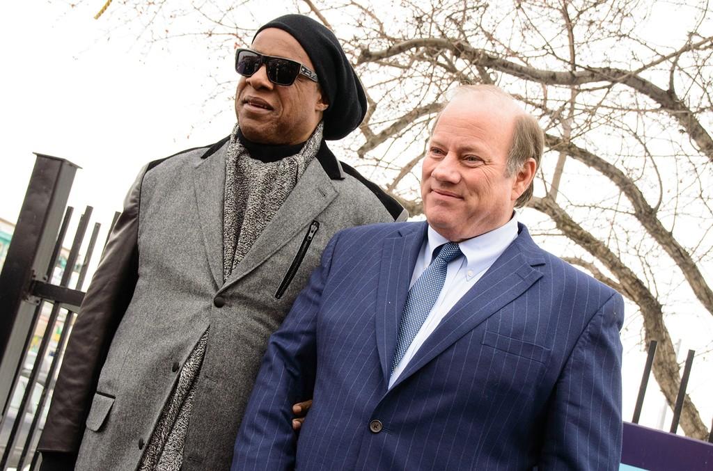 Stevie Wonder and Detroit Mayor Mike Duggan