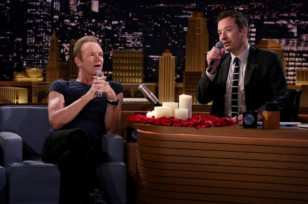 """Sting and Jimmy Fallon during the """"First Textual Experience"""" sketch on The Tonight Show Starring Jimmy Fallon on Sept0 28, 2016."""