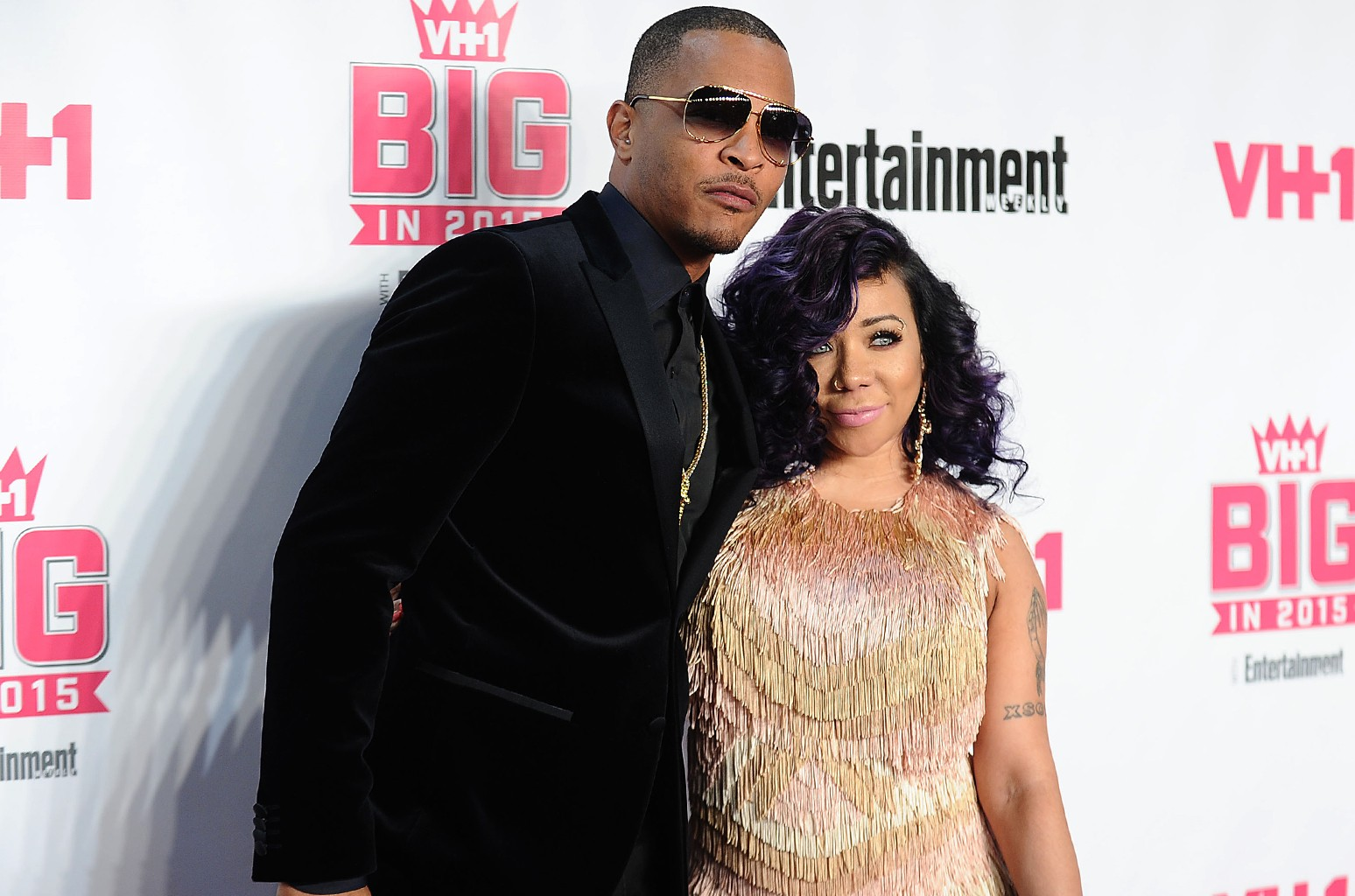 """T.I. and Tameka """"Tiny"""" Cottle-Harris attend the VH1 Big In 2015 with Entertainment Weekly Awards at Pacific Design Center on Nov. 15, 2015 in West Hollywood, Calif."""