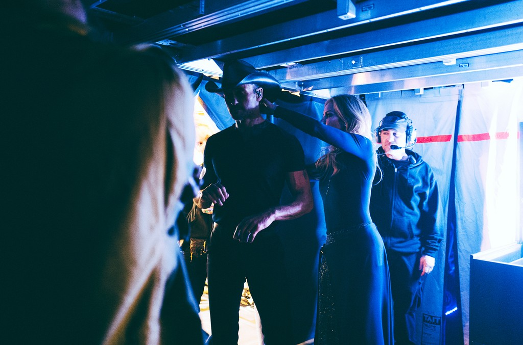 Tim Mcgraw and Faith Hill backstage at opening night of the Soul2Soul The World Tour 2017 at Smoothie King Center in New Orleans on April 7, 2017.