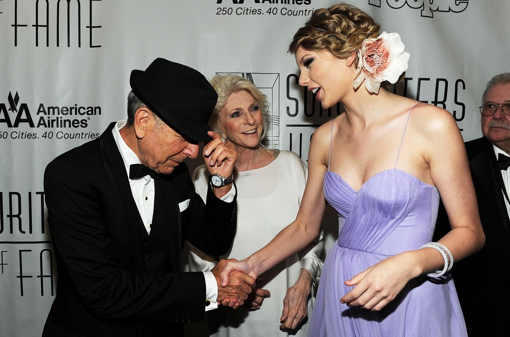 Leonard Cohen, Judy Collins and Taylor Swift meet at the 41st Annual Songwriters Hall of Fame Ceremony at The New York Marriott Marquis on June 17, 2010 in New York City.