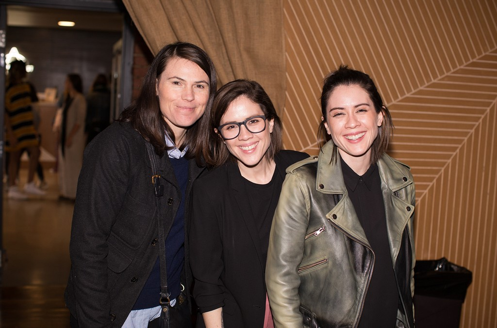 Tegan and Sara greet Clea Duvall after their welcome address in Los Angeles on Jan. 19, 2017.