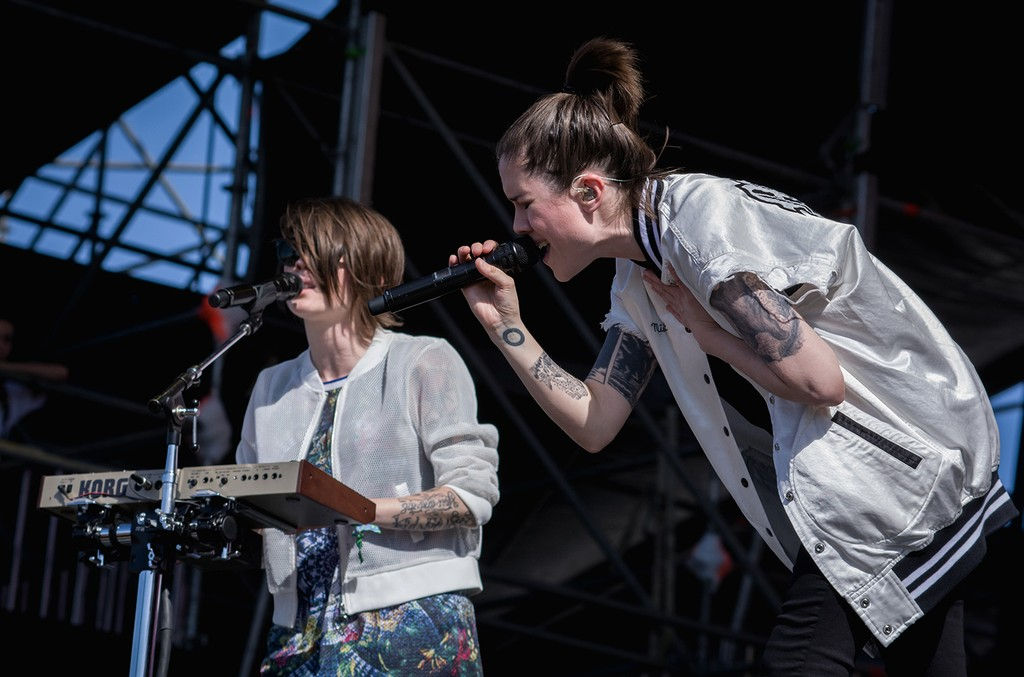 Tegan and Sara perform on stage as part of Lollapalooza Argentina at Hipodromo de San Isidro on April 1, 2017 in San Isidro, Argentina.