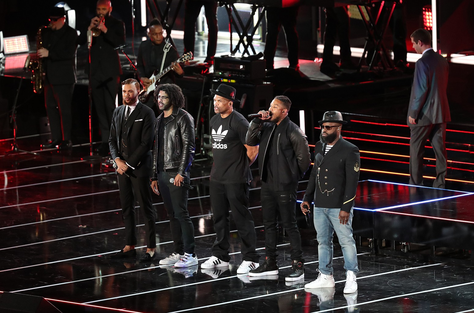 "Jidenna, Daveed Diggs, Darryl ""DMC"" McDaniels, Michael B. Jordan, and the Roots perform during the All-Star Game as part of the 2017 NBA All-Star Weekend on Feb. 19, 2017 at the Smoothie King Center in New Orleans, Louisiana."