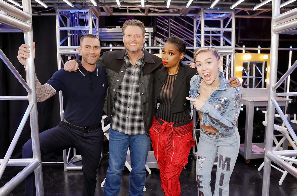 "Adam Levine, Blake Shelton, Jennifer Hudson, Miley Cyrus during ""Blind Auditions"" on The Voice on Oct. 3, 2017."