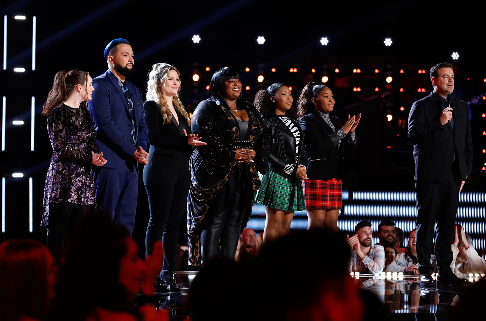 Kat Hammock, Will Breman, Marybeth Byrd, Rose Short, Hello Sunday and Carson Daly on The Voice on Dec. 10, 2019.