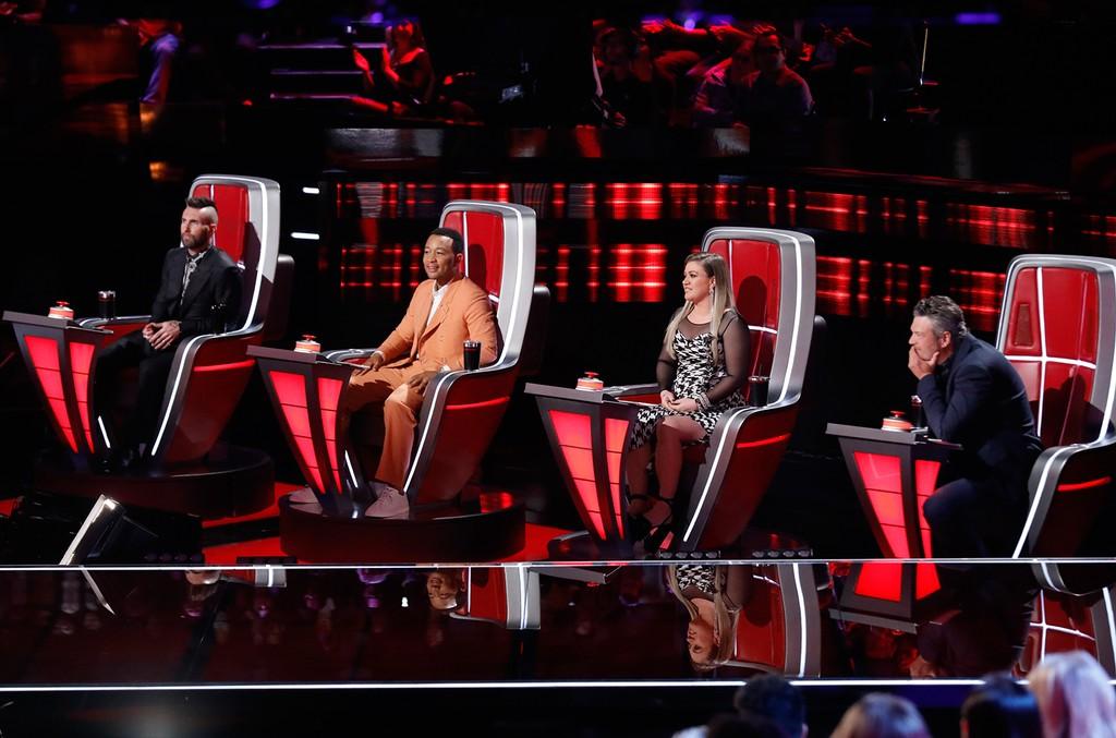 Adam Levine, John Legend, Kelly Clarkson and Blake Shelton on The Voice.