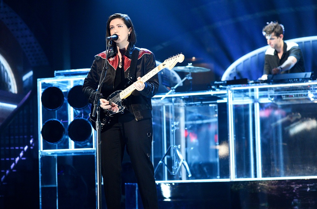 Romy Madley Croft, and Jamie xx of musical guest The xx perform on Saturday Night Live on Nov. 19, 2016.