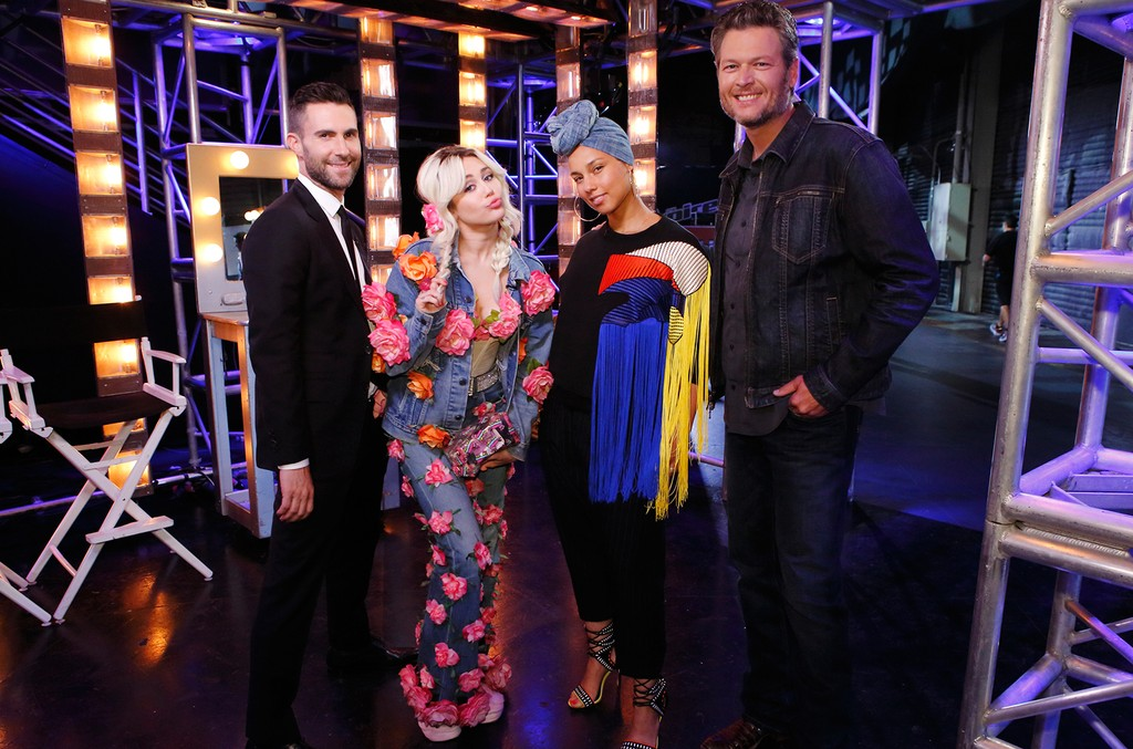 Adam Levine, Miley Cyrus, Alicia Keys and Blake Shelton on The Voice.