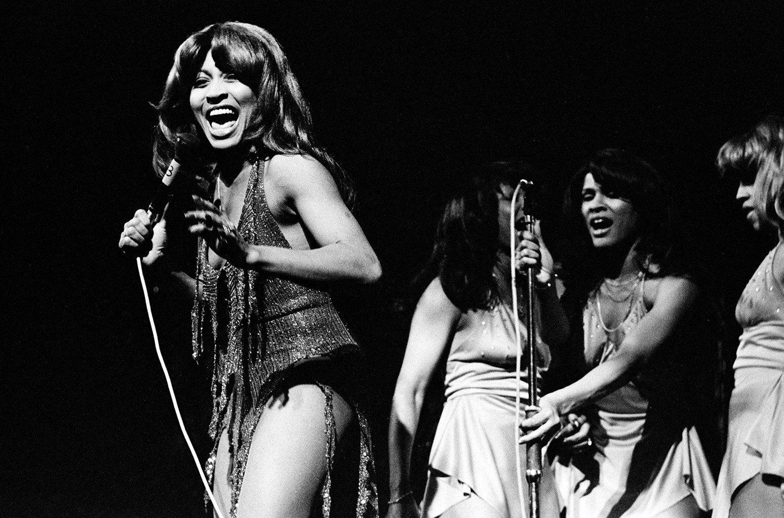 Tina Turner performs live on stage with the Ikettes at De Doelen in Rotterdam, Holland in 1971.
