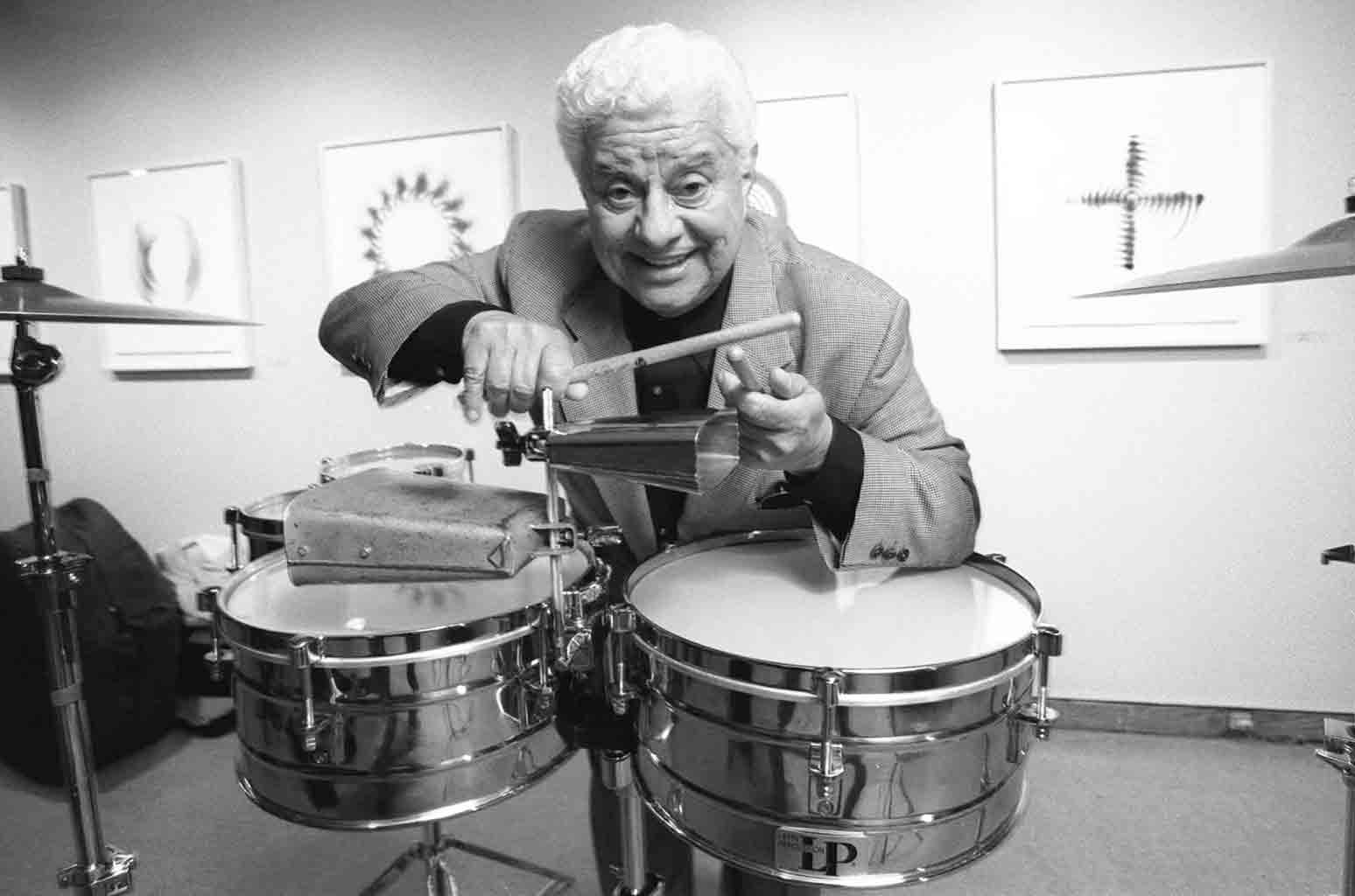 Tito Puente photographed on April 21, 1997 as he plays at a fund raising jazz benefit for St. Peter's Church in New York.