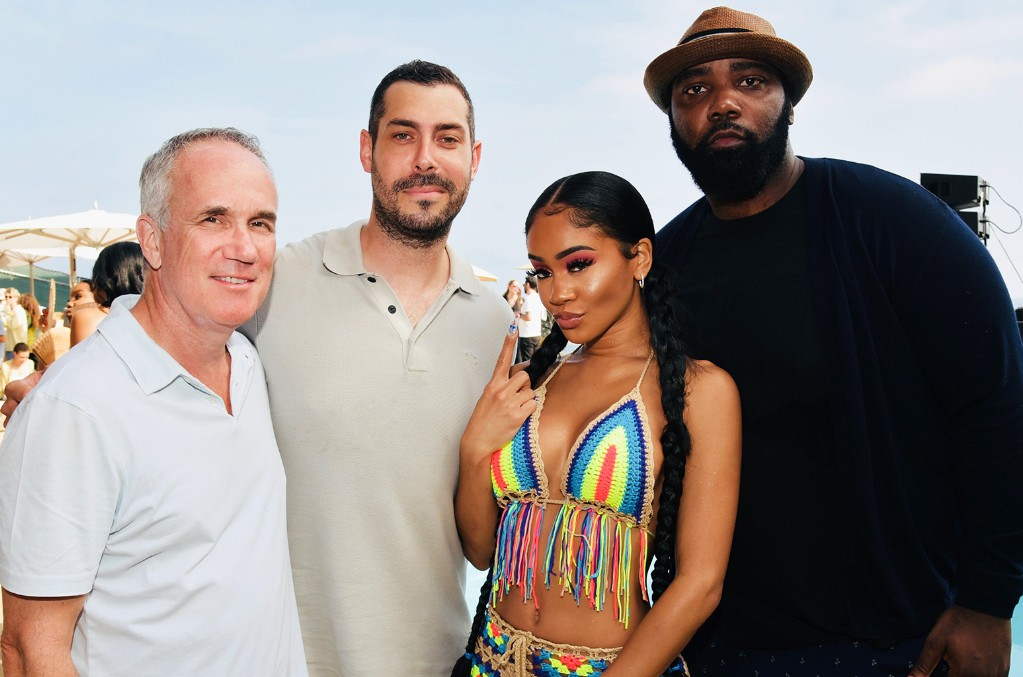 Tom Corson, Warner Records' Co-chairman & COO; Aaron Bay-Schuck, Warner Records' Co-chairman & CEO; Saweetie; Eesean Bolden, SVP A&R, Warner Records
