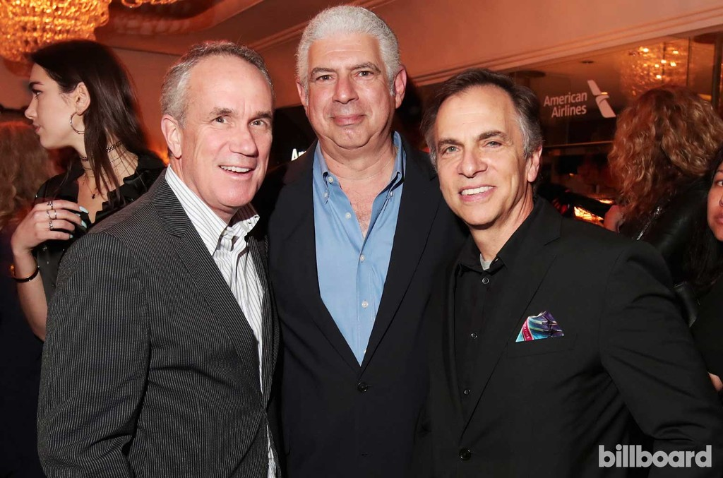 Chief Operating Officer of RCA Records Tom Corson, Managing Director of Creative Artists Agency Rob Light and guest attend 2017 Billboard Power 100 - Inside at Cecconi's on Feb. 9, 2017 in West Hollywood, Calif.