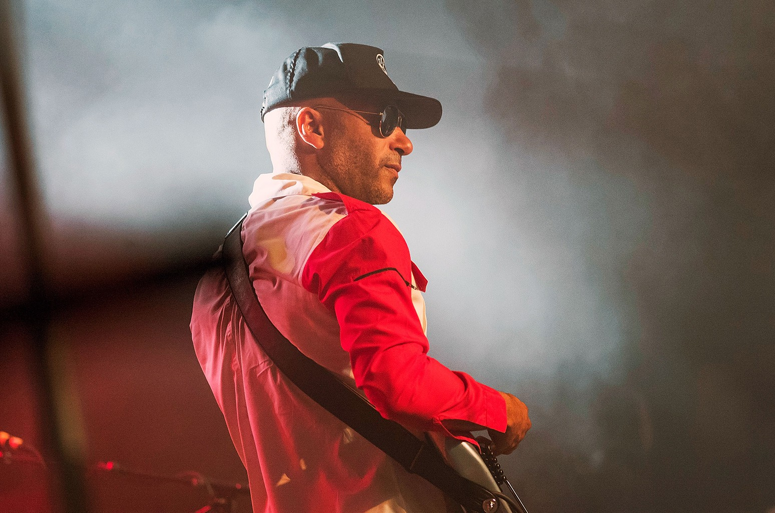 Tom Morello performs on stage at Teragram Ballroom during the Anti-Inaugural Ball on Jan. 20, 2017 in Los Angeles.