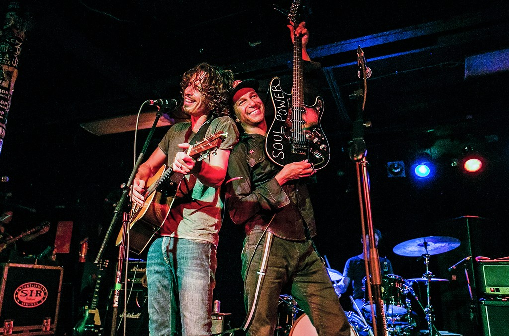 "Chris Cornell and Tom Morello perform together for the ""15 Now"" Benefit Show at El Corazn on Sept. 26, 2014 in Seattle."