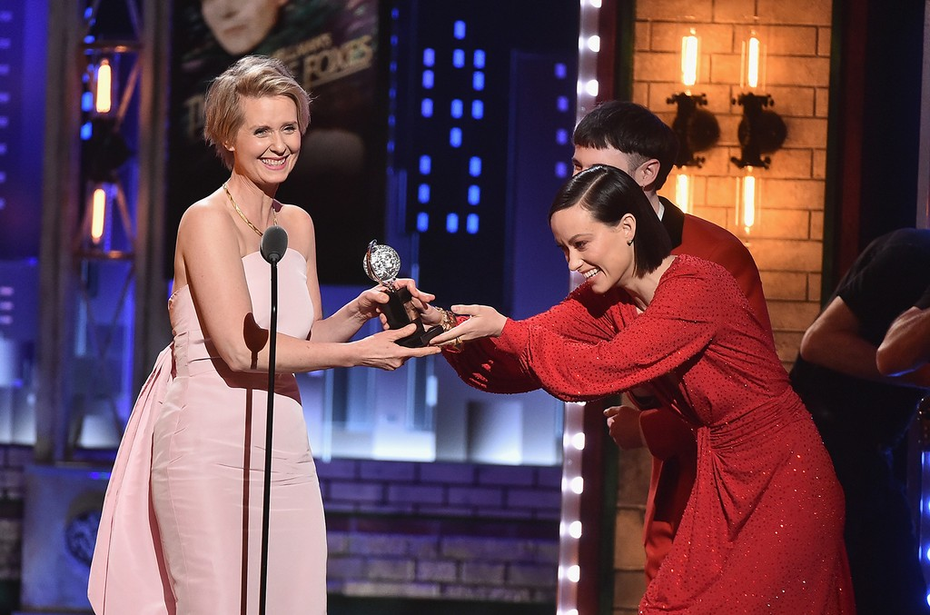 Tom Sturridge and Olivia Wilde present Cynthia Nixon (L) with the award for Best Performance by an Actress in a Featured Role in a Play for ?Lillian Hellman's The Little Foxes?