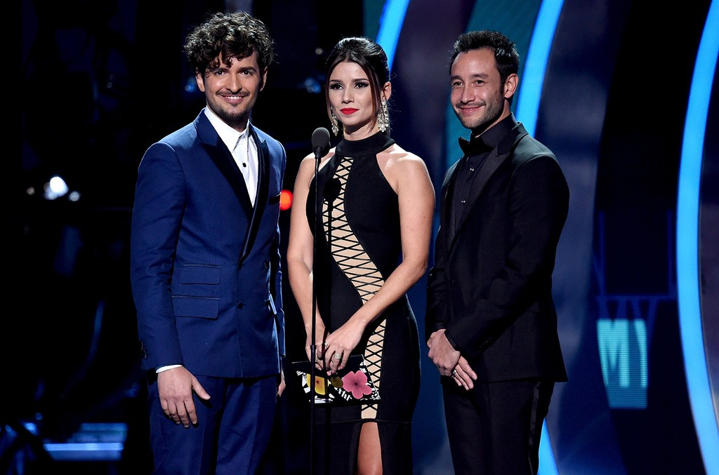 Tommy Torres, Paula Fernandes and Luciano Pereyra speak onstage during The 17th Annual Latin Grammy Awards at T-Mobile Arena on Nov. 17, 2016 in Las Vegas.