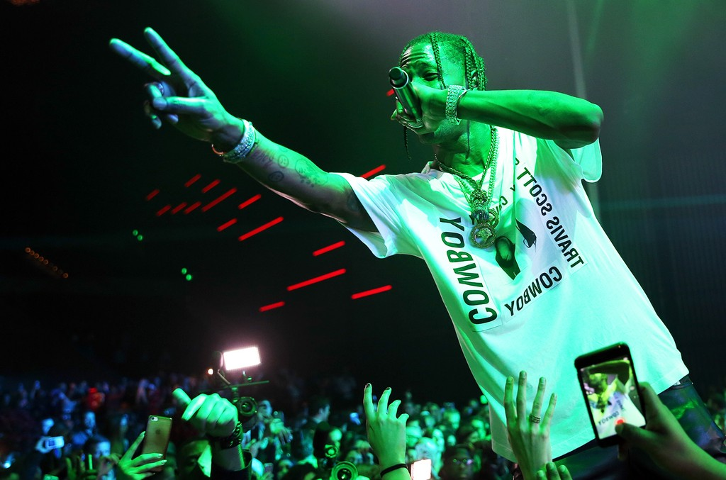 Travis Scott performs onstage at the Maxim Super Bowl Party on Feb. 5, 2017 in Houston, Texas.