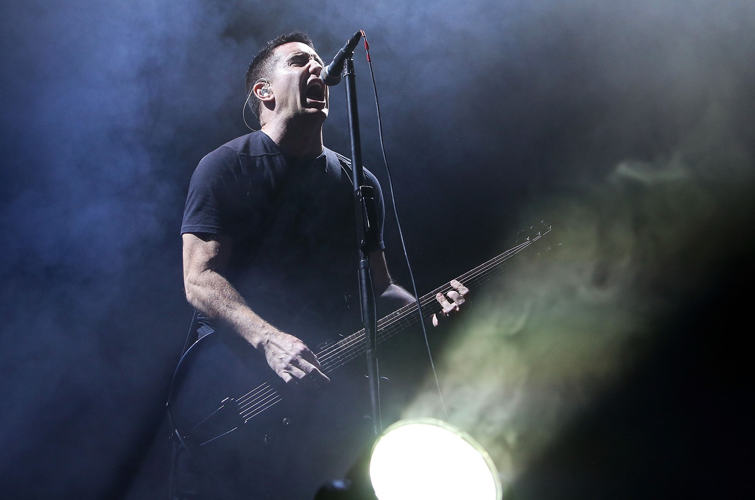 Trent Reznor of Nine Inch Nails performs on stage at TSB Arena on March 20, 2014 in Wellington, New Zealand.