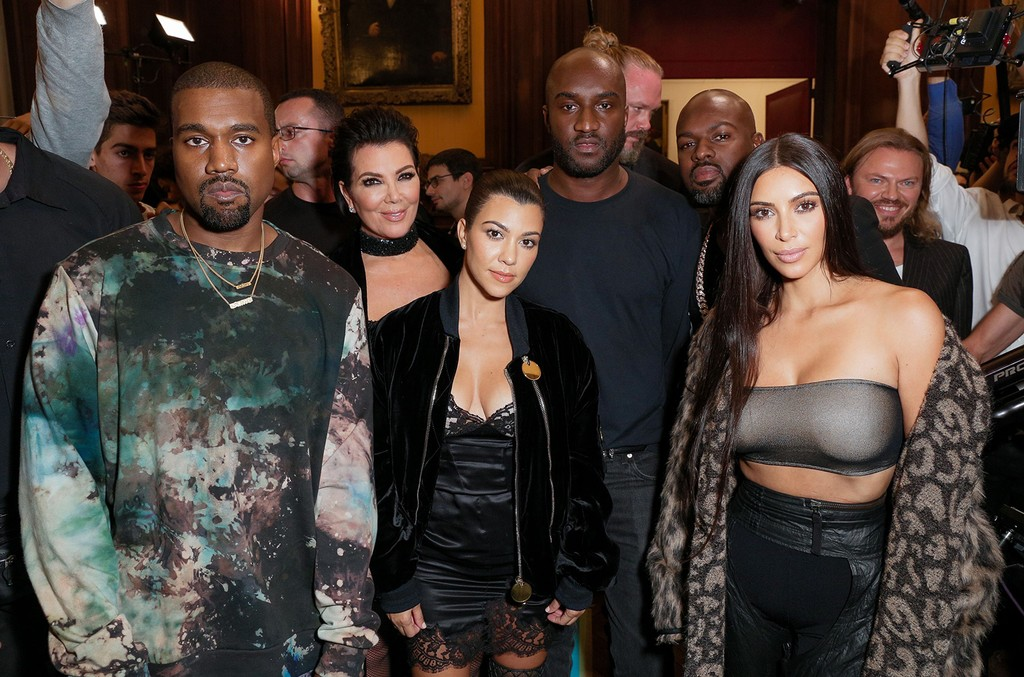Kanye West, Kris Jenner, Kourtney Kardashian, Virgil Abloh, and Kim Kardashian attend the Off-White show during Spring Summer 2017 Paris Fashion Week on Sept. 2p, 2016.