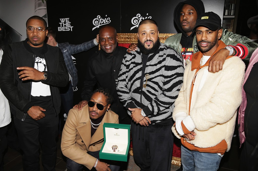 """Nas, L.A. Reid, Future, DJ Khaled, Meek Mill and Big Sean attend the DJ Khaled """"The Keys"""" Book Launch Dinner Presented By Penguin Random House And CIROC on Nov. 19, 2016 in Los Angeles."""