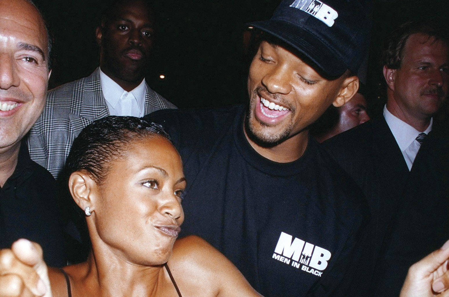 Smith and then-girlfriend Pinkett at Planet Hollywood in New York  in 1997.