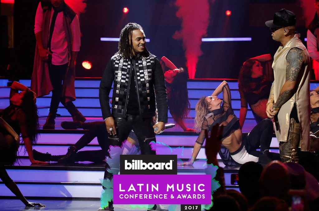 Ozuna and Wisin perform on stage at the Watsco Center in the University of Miami, Coral Gables, Florida on April 27, 2017.