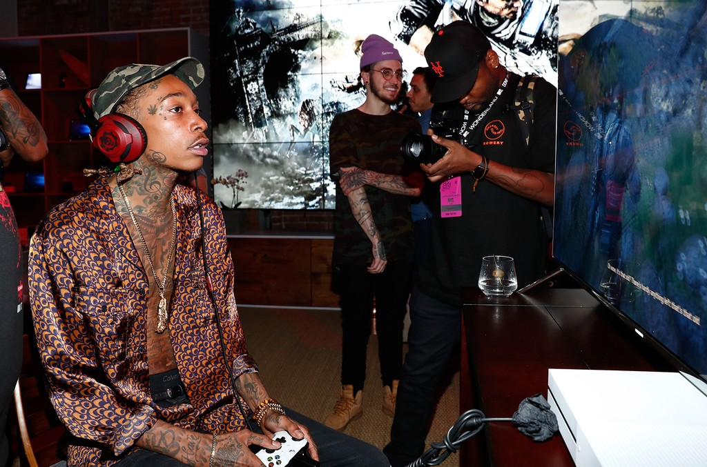 Wiz Khalifa attends the Nas, Todd Gurley and LA Rams Host Xbox & Gears of War 4