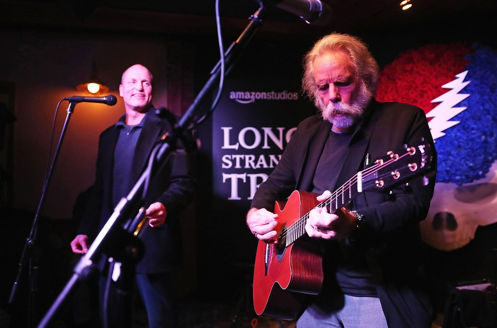"""Woody Harrelson and Bob Weir perform onstage during the Amazon Studios celebration of """"Long Strange Trip"""" at the 2017 Sundance Film Festival on Jan. 22, 2017 in Park City, Utah."""